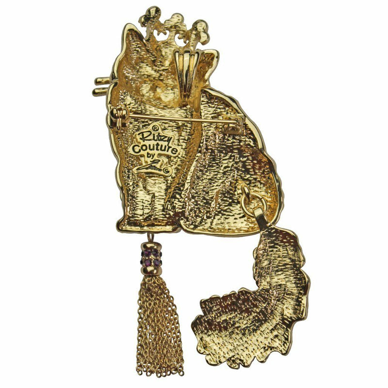Ritzy Couture Princess Kitty White Cat Pin/Pendant (Goldtone) - White/Gold/Red