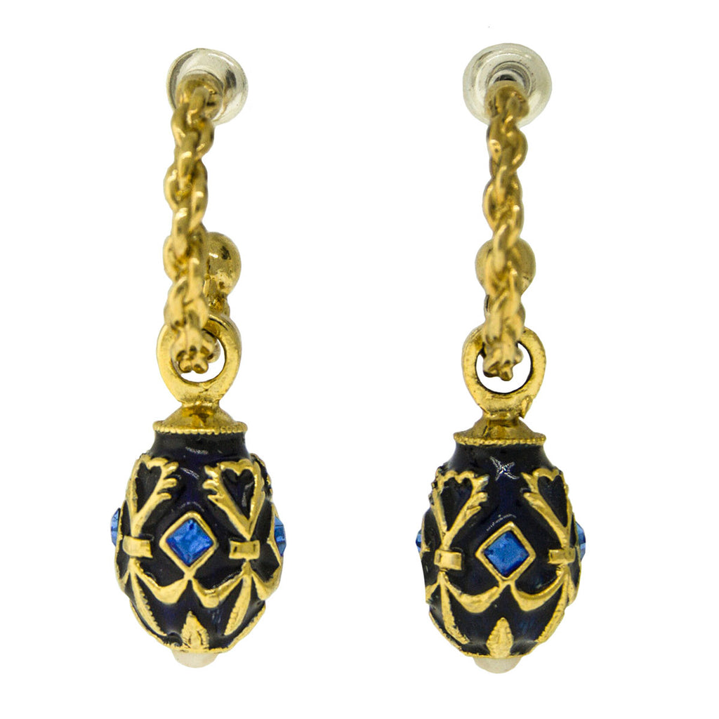 Ritzy Couture Sapphire Gem Egg Hoop Post Earrings (Goldtone)