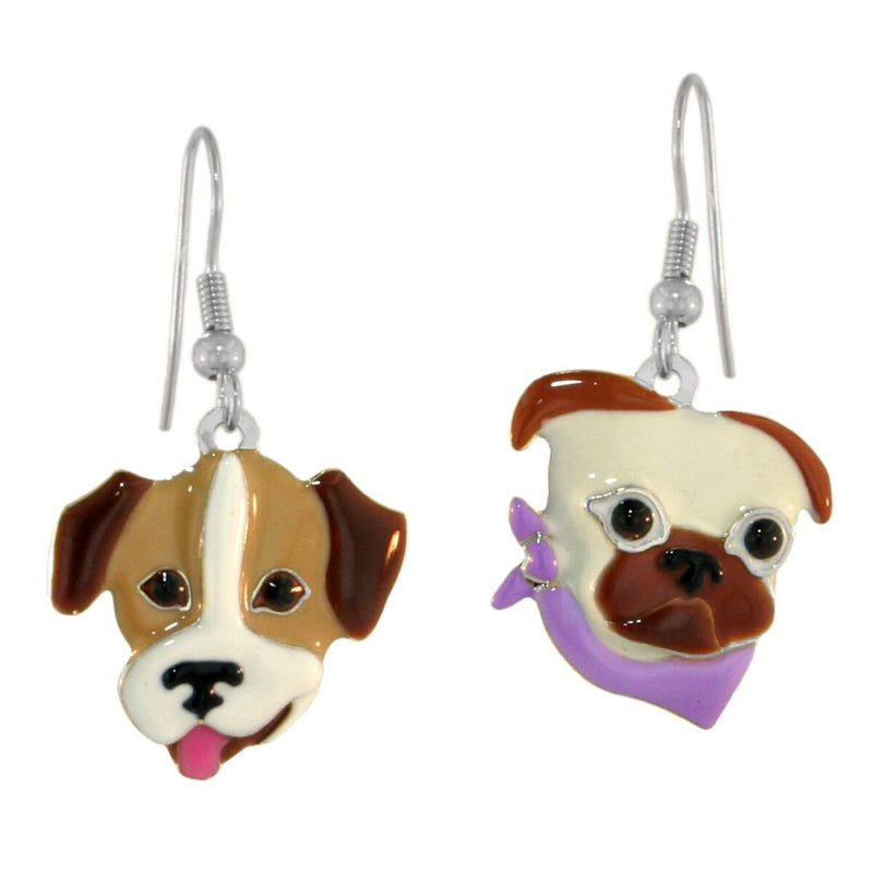 Lunch At The Ritz Assymetrical Dog Puppy (Silvertone) French Wire Earrings from Esme's Vault