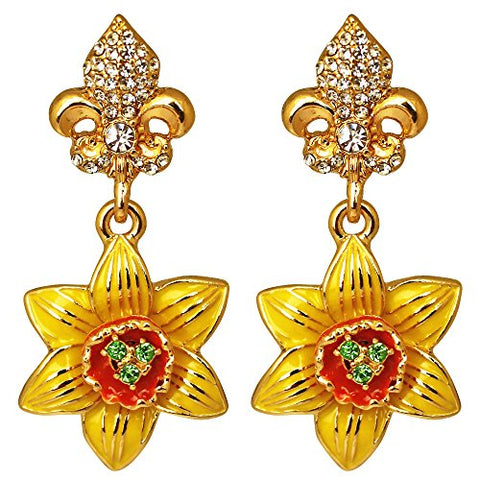 """Joyful Jonquil"" Yellow Daffodil & Crystal Dangling Earrings (Goldtone) Ritzy Couture"
