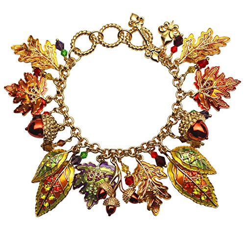 """Autumn in New York"" Maple & Oak Leaves with Acorns Fall Toggle Charm Adjustable Bracelet (Goldtone) Ritzy Couture"