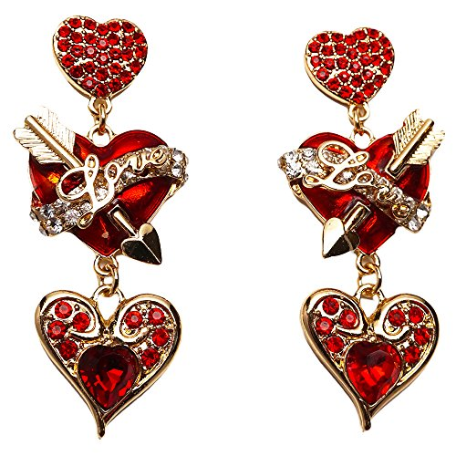 """Love Life"" Heart & Arrow Valentine's Day Message Red Dangle Earrings (Goldtone) Ritzy Couture"