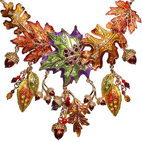 """Autumn in New York"" 20"" Maple and Oak Leaves & Acorn Fall Foliage Necklace (Goldtone) Ritzy Couture"