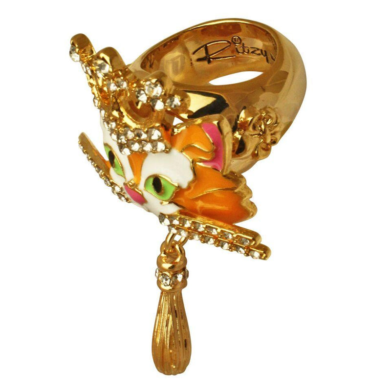 Ritzy Couture Princess Multi Color Tabby Cat Ring (Goldtone) - 8 / Multicolor