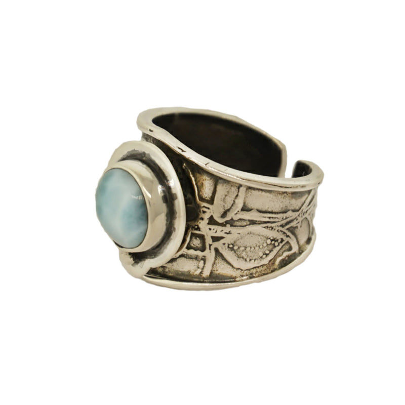 925 Sterling Silver Larimar Ring - Tabra Jewelry - Side View