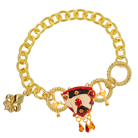 Lunch At The Ritz Siamese-Please Toggle Enhancer Link Charm (Goldtone)