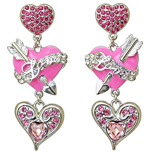 Ritzy Couture Heart & Arrow Dangle Pink Charm Earrings (Silvertone)