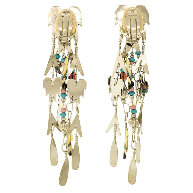 Lunch At The Ritz Kachina Dance Hopi Clip Earrings - Back Side