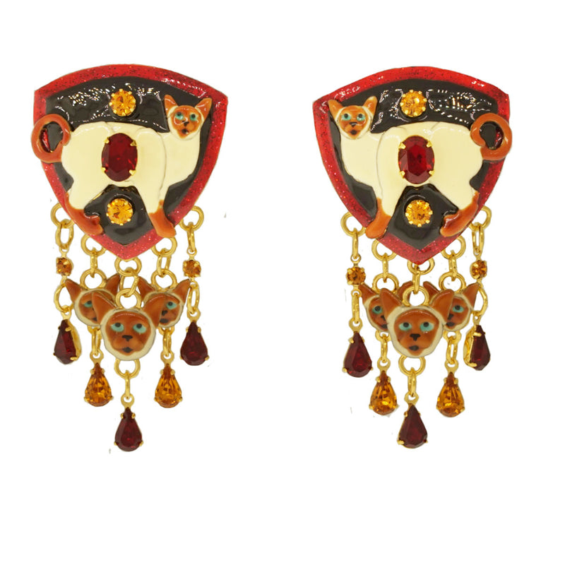 Lunch At The Ritz Siamese Cat Dangle Clip Earrings