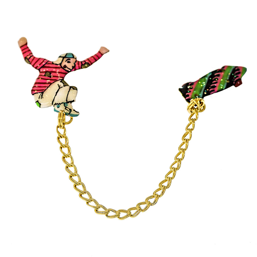 Lunch At The Ritz Boneless Bomb Drop Skate Board Pin (Goldtone)