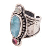 Tabra Jewelry - Sterling Silver Pink Larimar Opal Ring - Side View