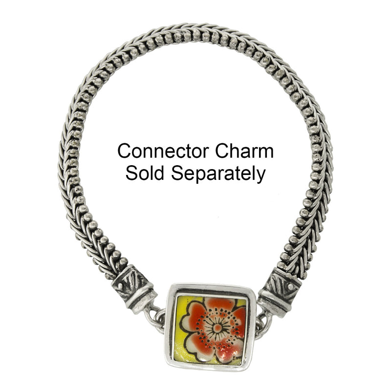 Tabra Jewelry - Silver Bracelet Connector Chain With Charm