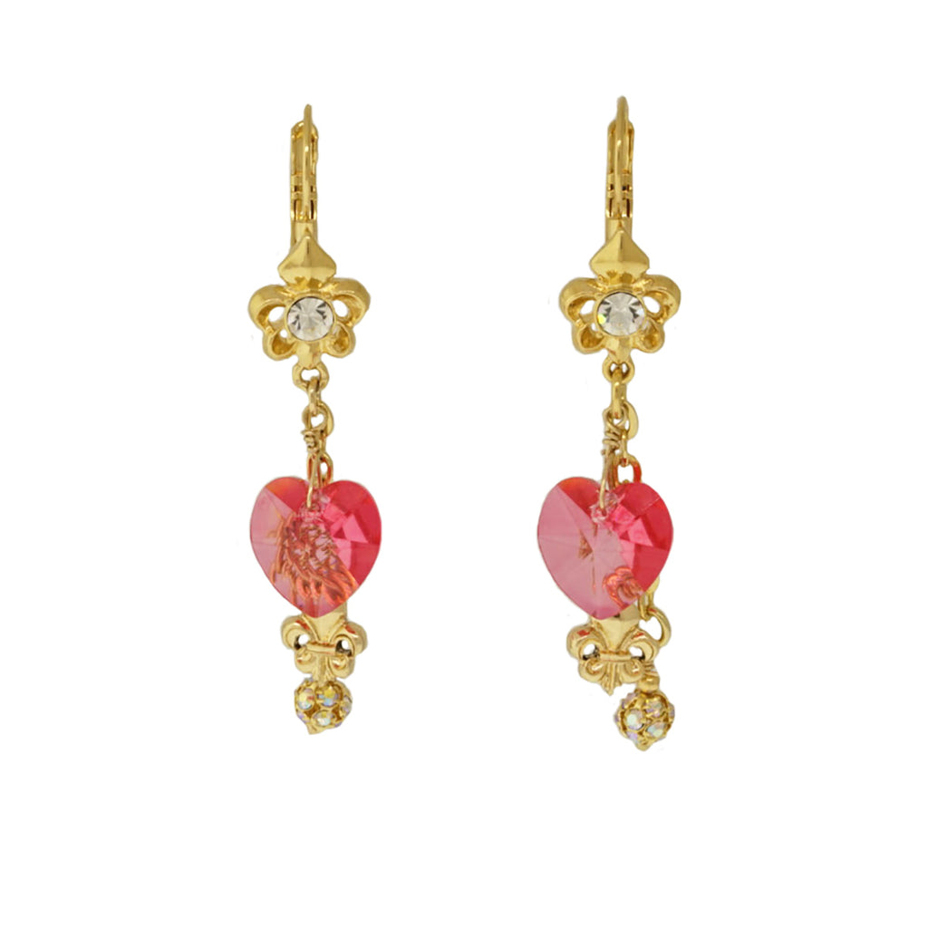 Fleur De Lis Pink Candy Heart Earrings For Women