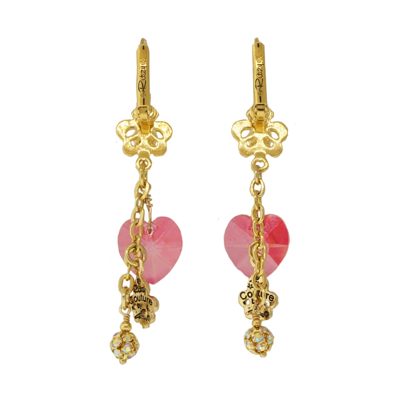 Fleur De Lis Pink Candy Heart Earrings For Women - Back Side