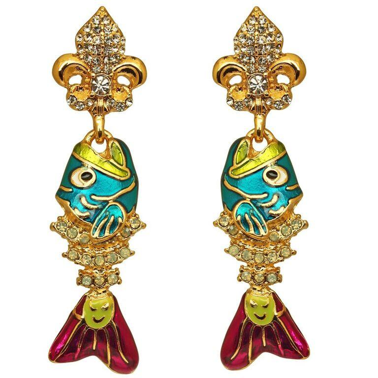 Ritzy Couture Fish Sticks Fishbone Pave Crystal Earrings (Goldtone) - Post / Multicolor