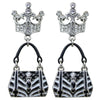 Ritzy Couture Crown & Handbag Shopping Earrings (Silvertone)