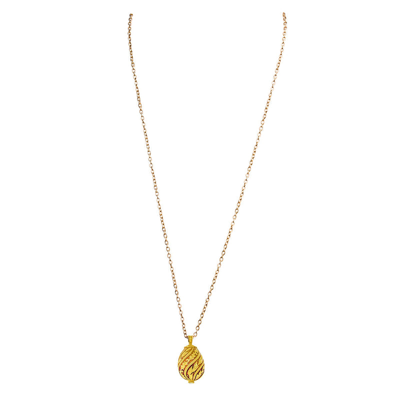 "Ritzy Couture Orange Ombre Egg Charm Necklace 30"" with 3"" Extender (Goldtone)"