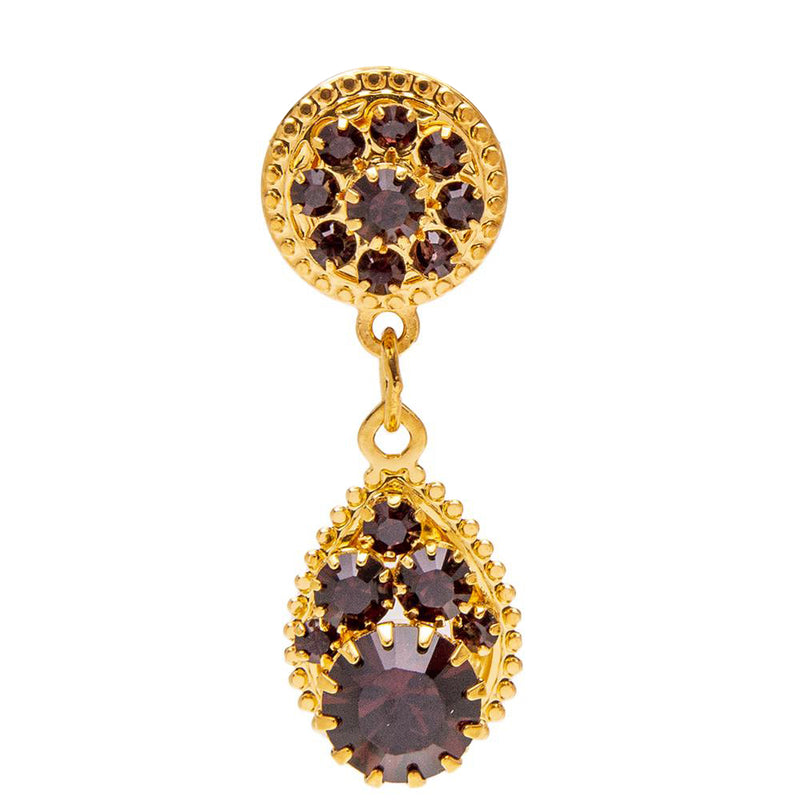 Lunch At The Ritz Swarovski Burgundy Crystal Dangle Post Earrings (Goldtone)