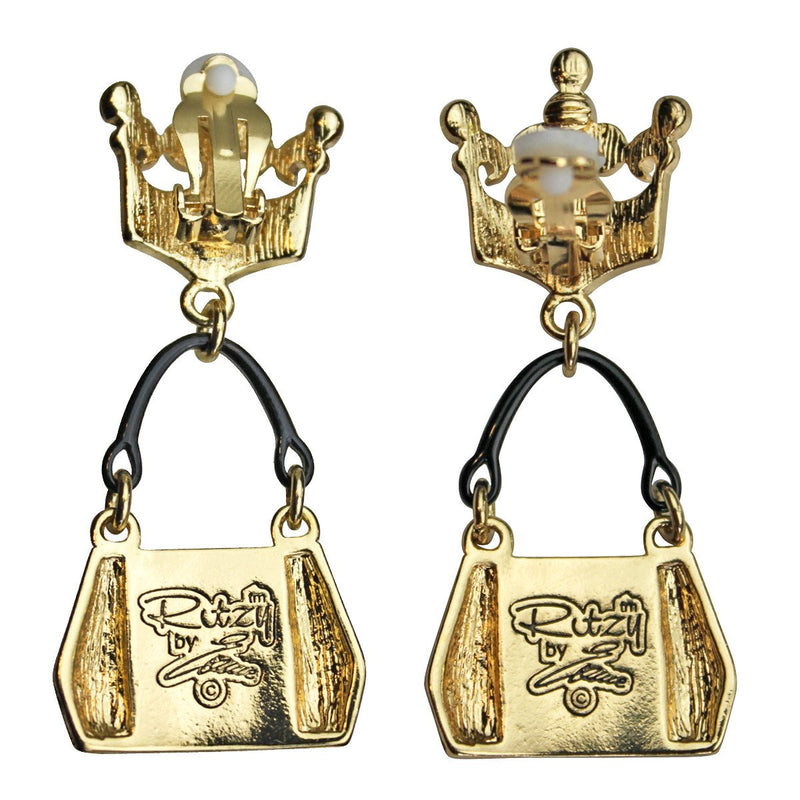 Ritzy Couture Crown & Handbag Shopping Charm Earrings (Goldtone) - post / Black/Gold