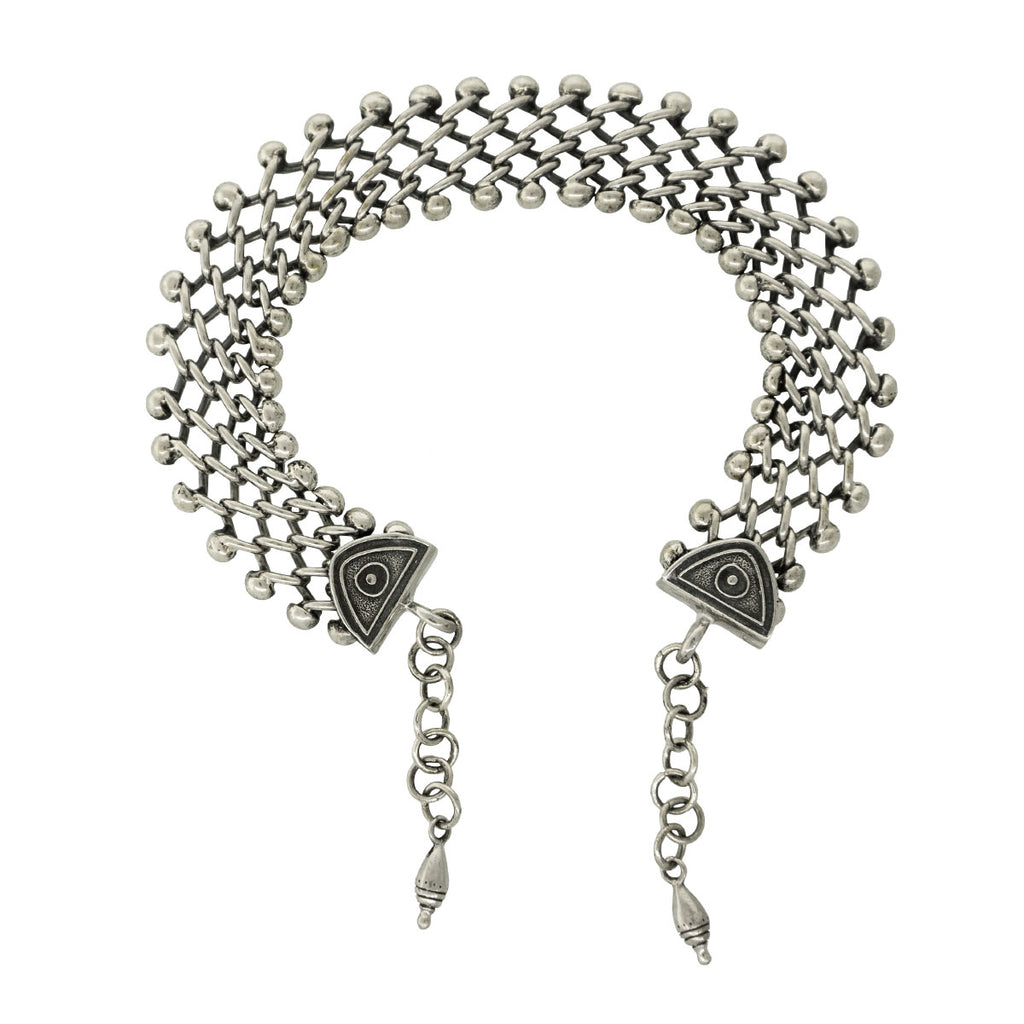 Tabra Anklet With Connector Chain In 925 Sterling Silver