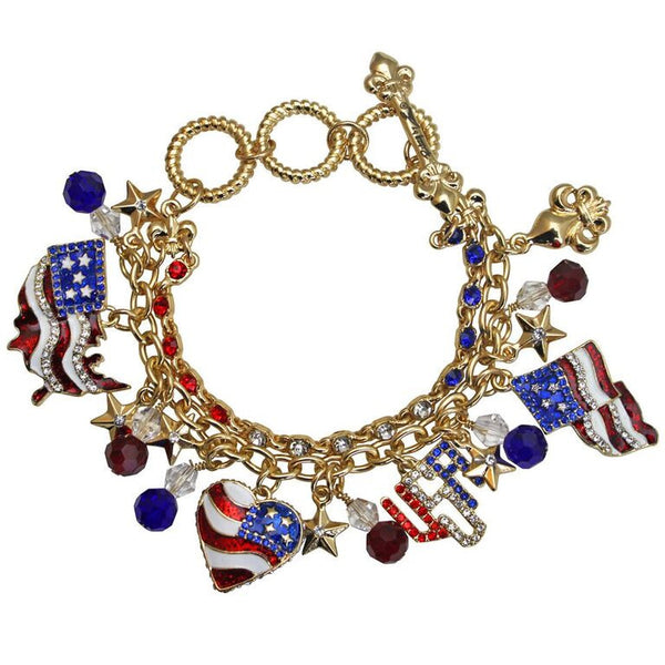 USA American Flag Patriotic Toggle Charm Bracelet (Goldtone) Ritzy Couture