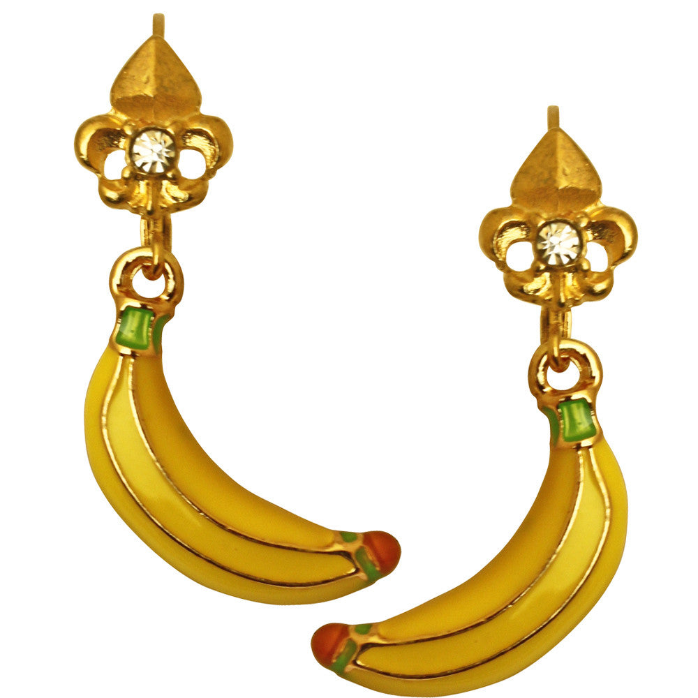 Yellow Banana Leverback Charm Earrings | Banana Earrings