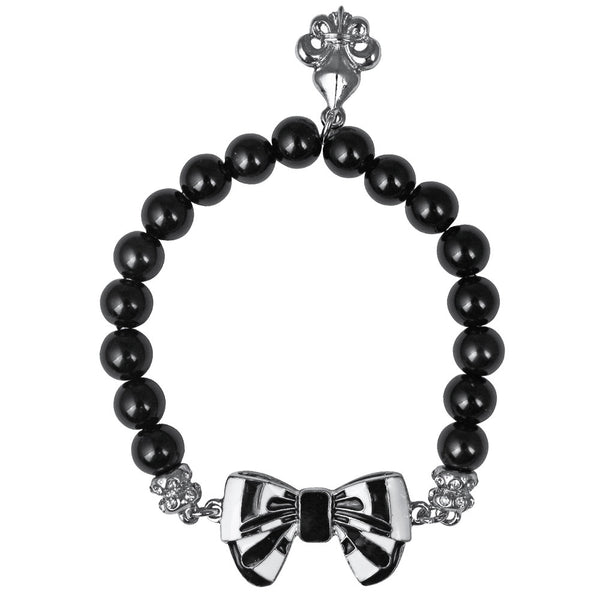 Black Silvertone Enamel Bow Beaded Stretch (Silvertone) Bracelet Ritzy Couture