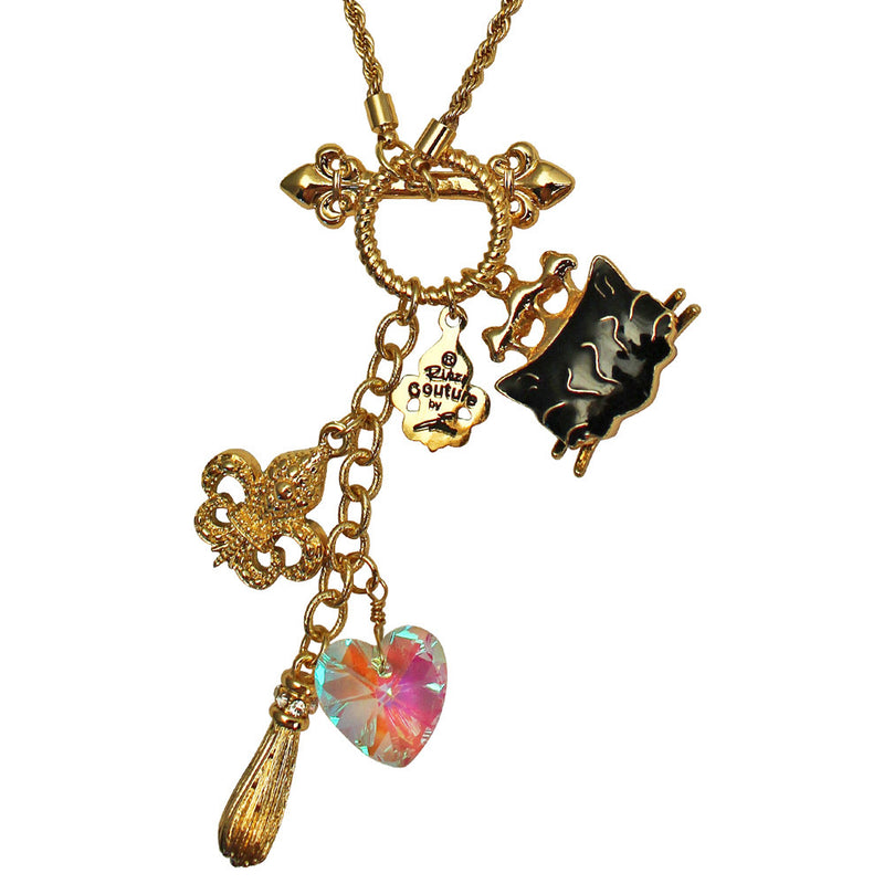 Princess Black Cat Multi Charm Necklace Jewelry - Black Cat Charm
