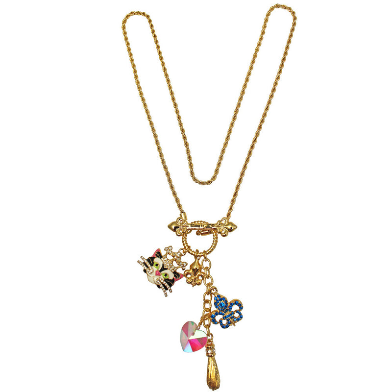 Princess Black Cat Multi Charm Necklace Jewelry - Back Side