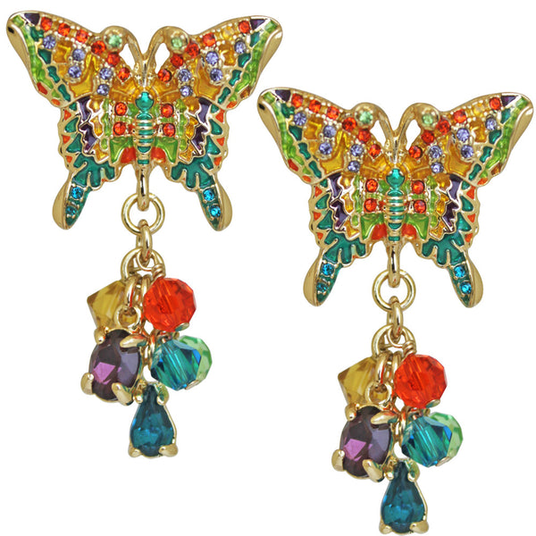 Multi-Color Butterfly Dangle Earrings (Goldtone) Ritzy Couture