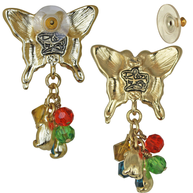 Butterfly Multi-Color Dangle Earrings | Butterfly Jewelry - Back Side