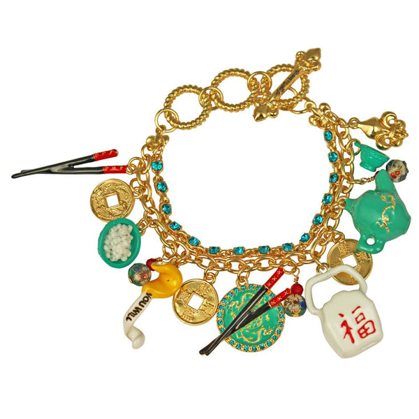 Chinese Takeout Multi Charm Adjustable Toggle Bracelet (Goldtone) Ritzy Couture