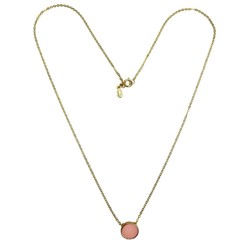 Pink Enamel Necklace For Women -Necklace Jewelry - Front Side