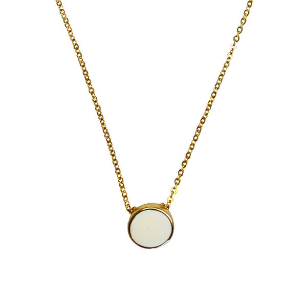 "White Enamel Pendant Set Necklace (Goldtone) Ritzy ""Couture Select"""