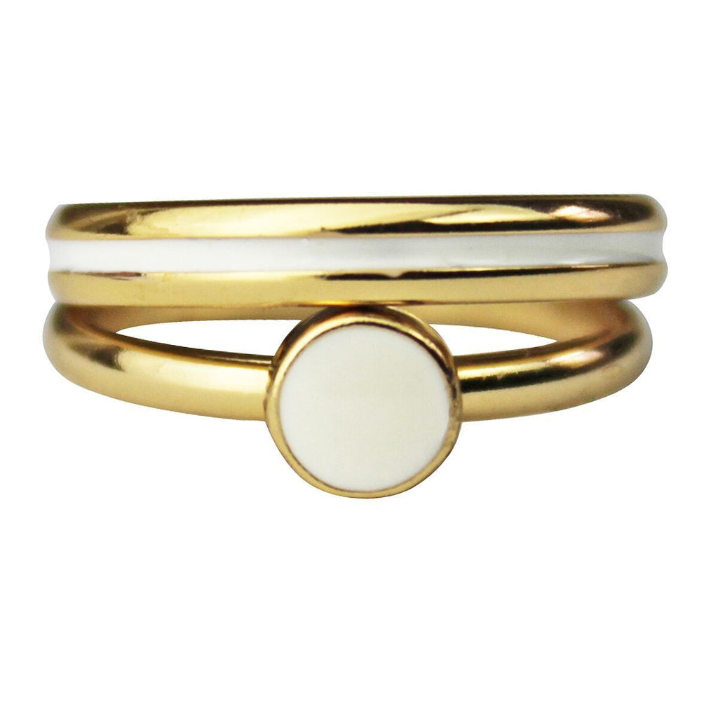 Two Rings White Enamel Set | Front Side