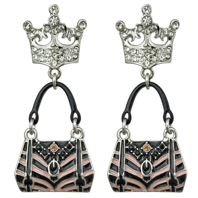 Crown & Handbag Shopping Charm Earrings