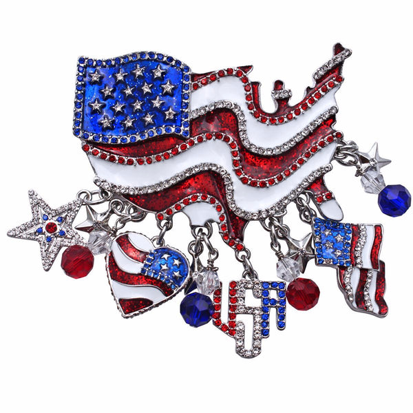 American Flag July 4th Multi Charm Pin/Pendant (Silvertone) Ritzy Couture