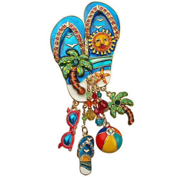 Summer Fun Flip Flop Palm Tree & Sunglasses Beach Day Pin/Pendant Ritzy Couture
