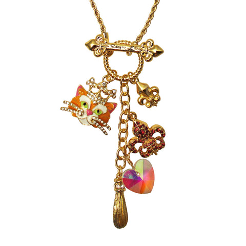 Princess Kitty Tabby Multi Charm Toggle Necklace (Goldtone) Ritzy Couture