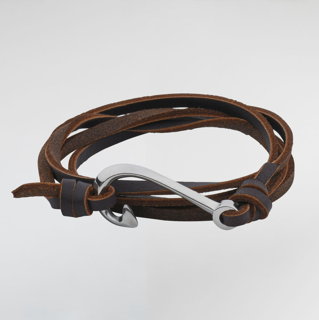 Fish Hook Passion Leather Bracelet For Men from Esme's Vault