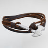 Axe Bracelets for Men - Leather Axe Bracelets - Silver and Brown