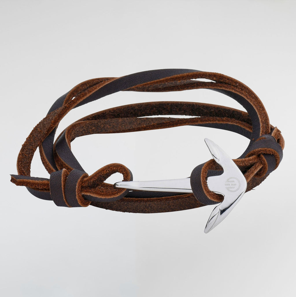 Leather Anchor Bracelet - Bracelets For Men - Silver & Brown