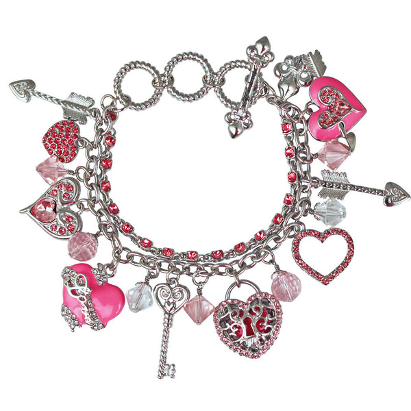 Love Life Heart & Arrow Charm Pink Adjustable Toggle Bracelet Ritzy Couture