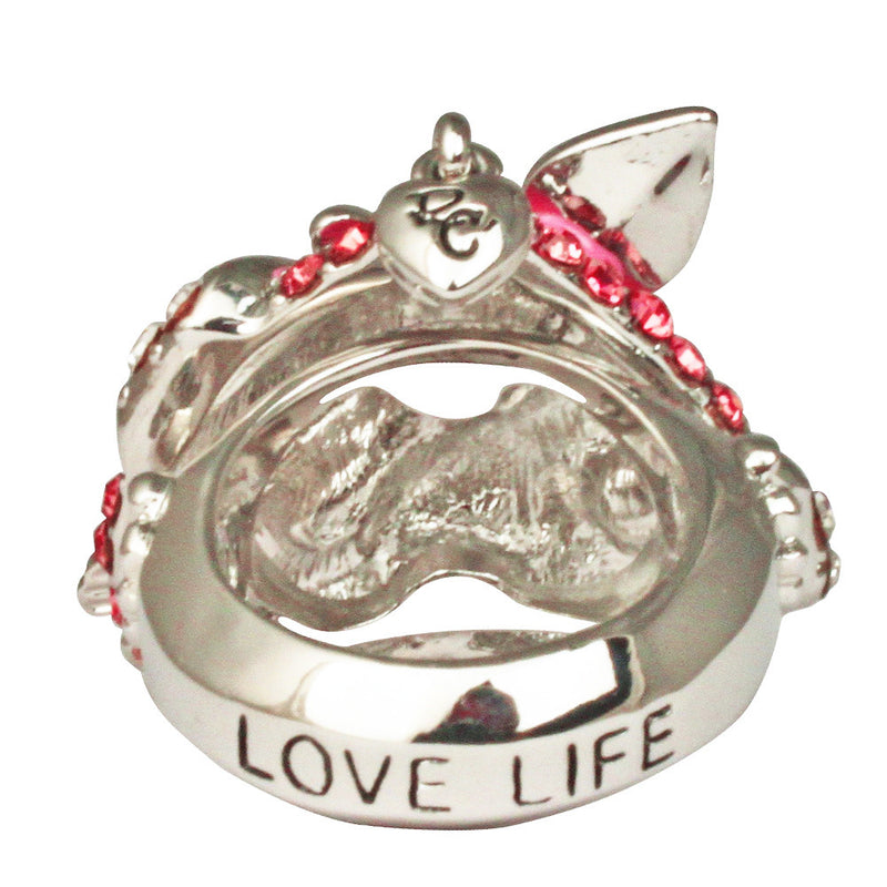 Love Heart & Arrow Pink Dangle Ring | Heart Ring | Back Side