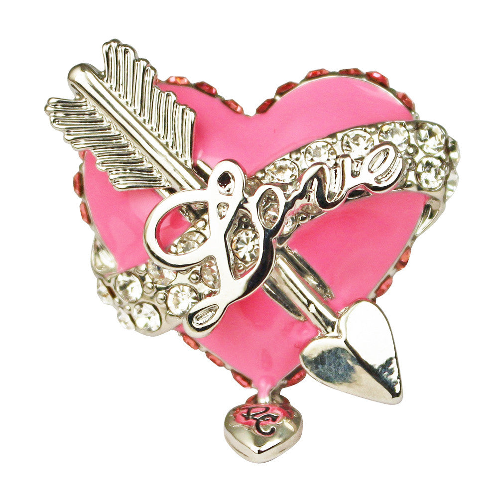 Love Heart & Arrow Pink Dangle Ring | Heart Ring