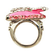 Love Heart & Arrow Pink Dangle Ring