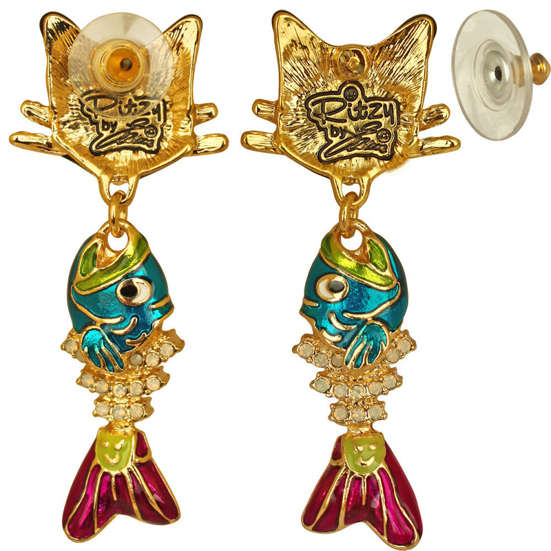 Alley Cat & Fishbone Charm Earrings - Jewelry Earrings - Back Side