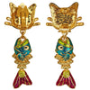 Alley Cat & Fishbone Charm Earrings - Back Side