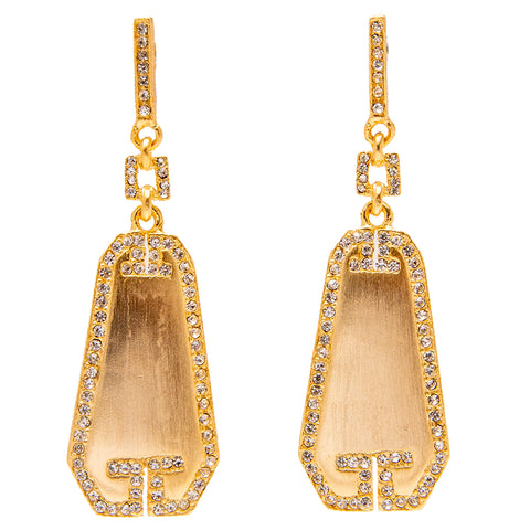 Art Deco Tailored Elegant Swarovski Crystal Pave Drop Post Earrings (Goldtone) Ritzy Couture