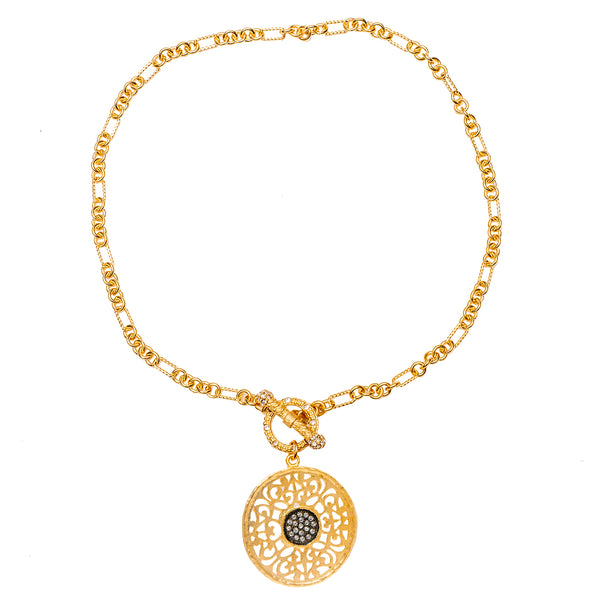 Mandala Inspired Laced Swarovski Crystal Pave Black Enamel Pendant Necklace (Goldtone) Ritzy Couture